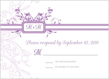 Response Card - monogram scroll