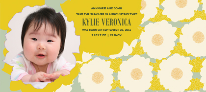 Birth Announcement with photo - GENTLE FLOWERS