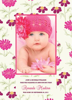 Birth Announcement with photo - FLOWER GARDEN