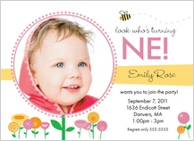 Birthday Party Invitation with photo - birthday garden