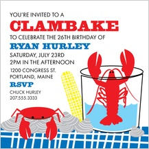Birthday Party Invitation - clambake party