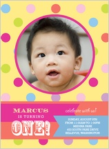 Birthday Party Invitation with photo - yummy dots 1st birthday party