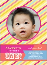 Birthday Party Invitation with photo - yummy stripes 1st birthday party