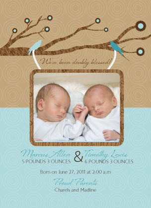 Birth Announcement with photo - Blue Bird Twins