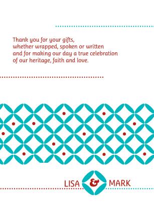 Wedding Thank You Card - Decorative Zircon