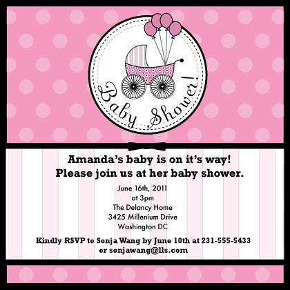 pretty stroller baby shower invitation look love send