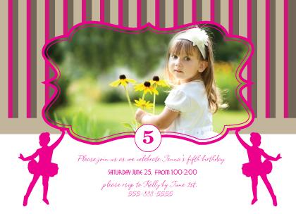 Birthday Party Invitation with photo - Ballerina Birthday