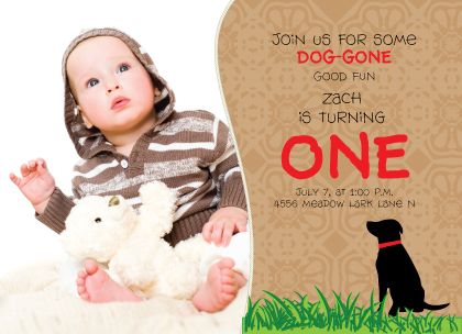 Birthday Party Invitation with photo - Dog Gone Great Birthday Party