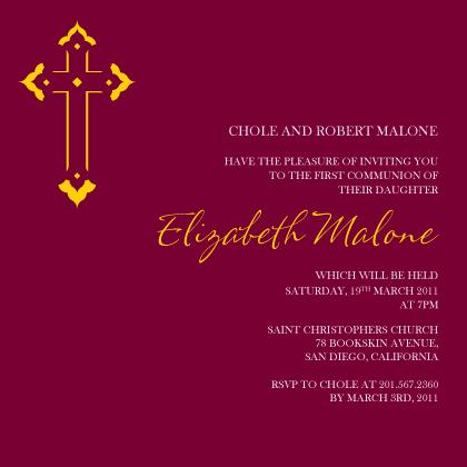 First Communion Invitation - Vibrant Cross