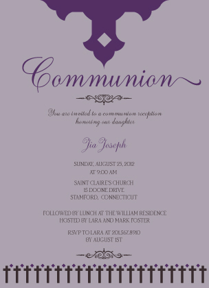 First Communion Invitation - Communion Crosses