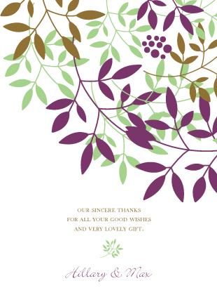 Wedding Thank You Card - Leafy Cluster