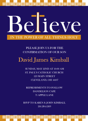 Confirmation Invitation - Believe