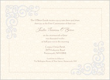 First Communion Invitation - religious scrolls