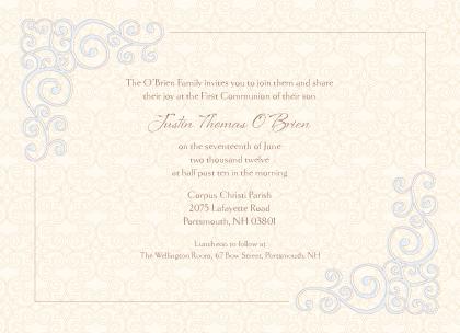 First Communion Invitation - Religious Scrolls