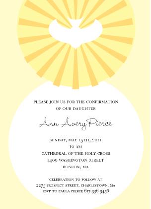 Confirmation Invitation - Confirmation Dove