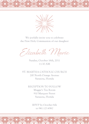 First Communion Invitation - Modern Star