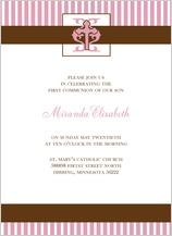 First Communion Invitation - striped first communion
