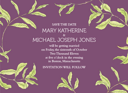 Save the Date Card - FRESH LEAVES