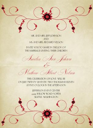 Wedding Invitation - Scarlet Swirls