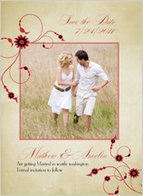 Save the Date Card with photo - scarlet swirls