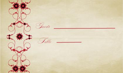 Place Card - Scarlet Swirls