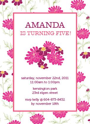 Birthday Party Invitation - FLOWER GARDEN