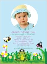 Birthday Party Invitation with photo - froggy birthday