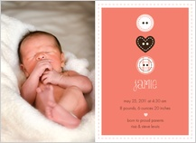 Birth Announcement with photo - button cute