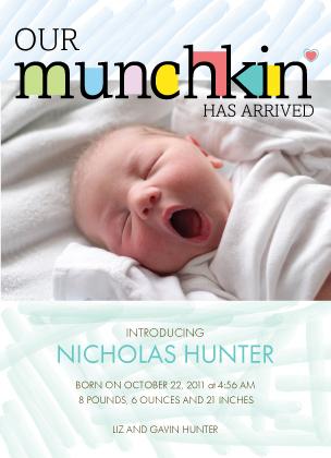 Birth Announcement with photo - Joyful Letters:Boy