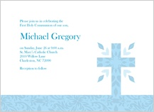 First Communion Invitation - patterned cross