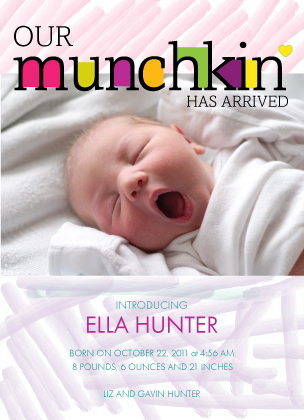 Birth Announcement with photo - Joyful Letters:Girl