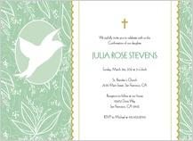 Confirmation Invitation - white dove in flight