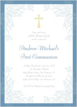 First Communion Invitation - leaf scrolls