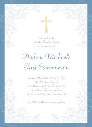 First Communion Invitation - Leaf Scrolls