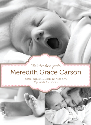 Birth Announcement with photo - Center Banner