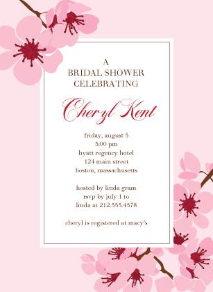 Wedding Shower Invitation - cherry blossom showers