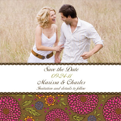 Save the Date Card with photo - Garden Party