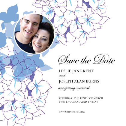 Save the Date Card with photo - Simply Hydrangea