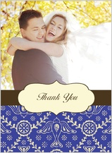 Wedding Thank You Card with photo - boho birds
