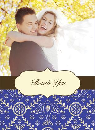 Wedding Thank You Card with photo - Boho Birds