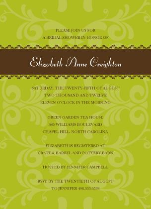 Wedding Shower Invitation - Ribbon and Scrolls Bridal Shower