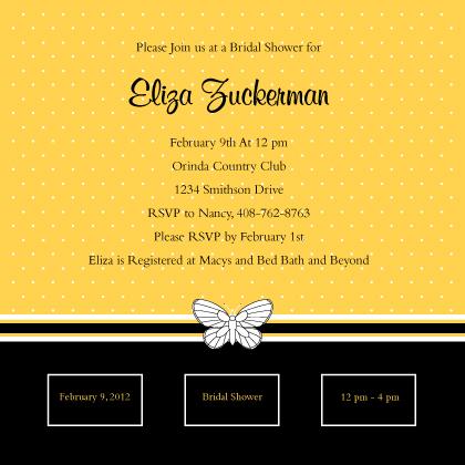 Wedding Shower Invitation - Polka Dot Butterfly Wedding Shower