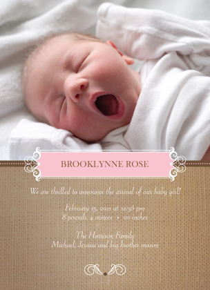Birth Announcement with photo - Burlap Baby