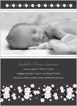 Birth Announcement with photo - pink and black floral