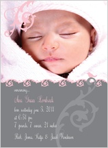 Birth Announcement with photo - pink and gray vines