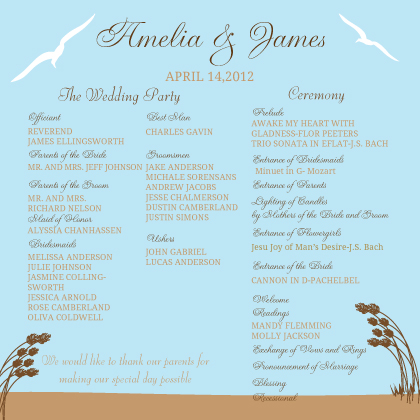 Program - East Coast Wedding