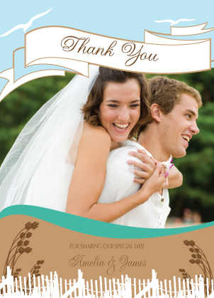 Wedding Thank You Card with photo - East Coast Wedding