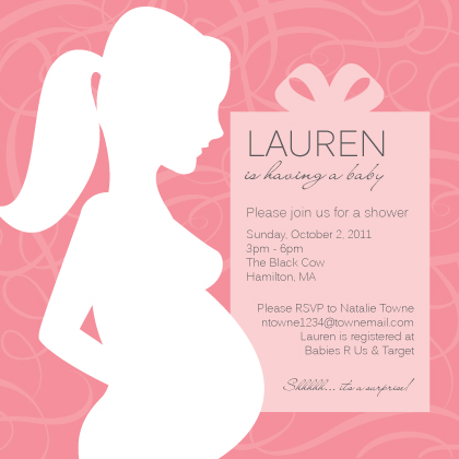 Baby Shower Invitation - Mom To Be Silhouette