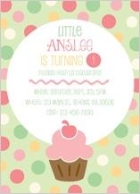 Birthday Party Invitation - little cupcake