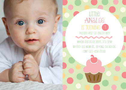 Birthday Party Invitation with photo - Little Cupcake